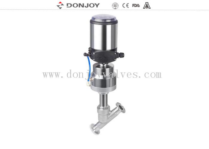 SS304 Thread/Clamp Connection Angle Body Valve , Angle Seated Valves 2 Inch High Purity