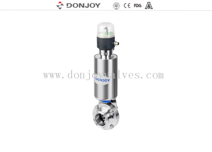 Stainless steel 304 / 316 pneumatic sanitary butterfly valves with positioner and actuator